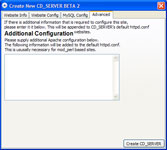 Create New CD_SERVER - Advanced Configuration